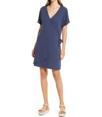 women's caslon easy side tie dress, size medium - blue