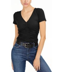 bar iii ruched knit t-shirt, created for macy's