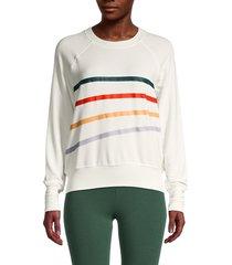 for the republic women's raglan-sleeve striped sweatshirt - soft white - size s