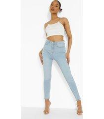 skinny jeans met 5 zakken en hoge taille, light blue