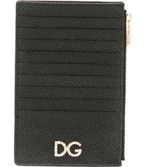 dolce & gabbana logo plaque vertical cardholder - black