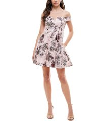 city studios juniors' foil lace off-the-shoulder fit & flare dress