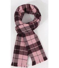 checkered pattern long shawl scarf