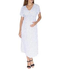 angel maternity polka dot empire waist maternity/nursing dress, size x-large in white at nordstrom