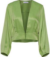 elm satin blouse lange mouwen groen rodebjer
