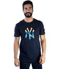 camiseta mlb new york yankees color stripe inside azul marinho marinho new era
