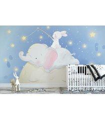 fototapeta dla dzieci księżyc, słoń i królik
