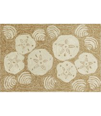 """liora manne front porch indoor/outdoor shell toss natural 2'6"""" x 4' area rug"""