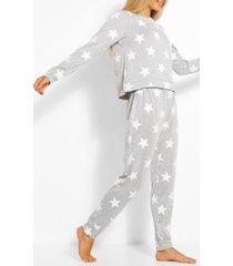 sterrenprint sweater en joggingbroek set, grijs