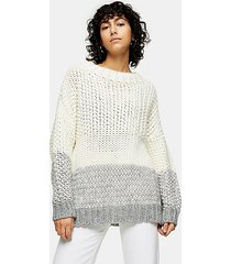 black and white chunky three stripe knitted sweater - monochrome