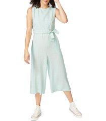 women's court & rowe pinstripe crop jumpsuit, size 16 - blue