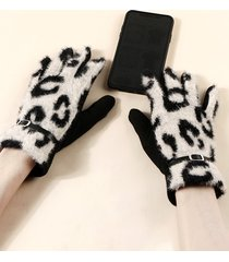 buckle leopard screen touching fluffy gloves