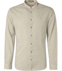 no excess shirt granddad 2 coloured linen khaki