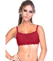 sutiã sempre sensual lingerie top renda bojo vermelho
