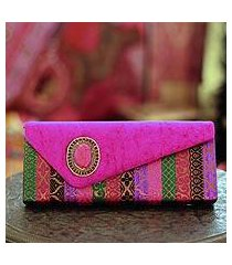 beaded clutch handbag, 'fuchsia festival' (india)