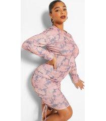 bodycon jurkje met strik-geverfd detail en ruches, roze