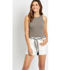 maurices womens high rise white vintage belted 5in shorts