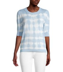 design 365 women's tie-dyed cotton-blend sweater - blue - size xs
