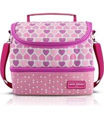lancheira térmica com 2 compartimentos infantil coração jacki design sapeka rosa