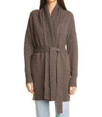 women's co essentials wool & cashmere long belted cardigan, size medium - brown