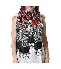 tussar silk shawl, 'harmonious contrasts' (india)