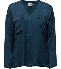 savannah blouse blus långärmad blå twist & tango