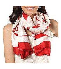 silk scarf, 'kolkata blossoms in poppy red' (india)