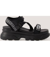 na-kd shoes chunky velcro sandals - black