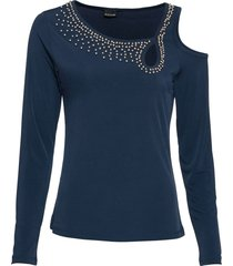 maglia con cut-out e perle (blu) - bodyflirt