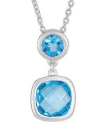 """amethyst double drop 18"""" pendant necklace (2-1/10 ct. t.w.) in sterling silver (also in blue topaz)"""