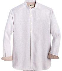 joseph abboud beige stripe modern fit mandarin collar linen sport shirt