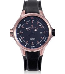 lancaster designer men's watches, space shuttle automatic rose gold pvd stainless steel and silicon men's watch