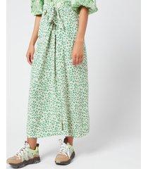 ganni women's printed crepe wrap midi skirt - tapioca - eu 40/uk 12