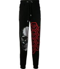 philipp plein skull rhinestone track pants - black