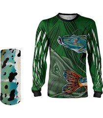 camisa máscara pesca quisty pintado moleque verde proteção uv dryfit infantil/adulto - camiseta de pesca quisty
