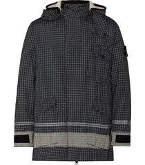 black check print hooded jacket