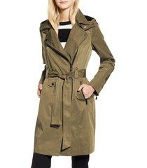 women's avec les filles water resistant moto detail trench coat, size large - green