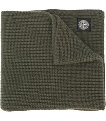stone island compass-patch knit scarf - green
