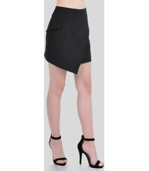 falda corta asimétrica de mujer aishop aw162-1115-003 negro