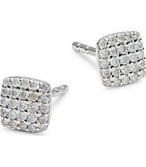 sterling silver soft square diamond stud earrings