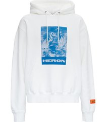 heron preston white jersey hoodie with print
