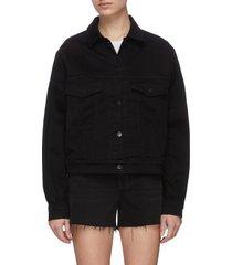 drew' chain fray sleeve crop denim jacket