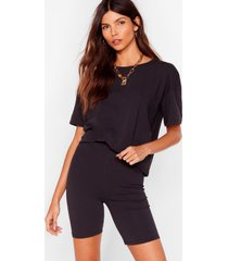 womens sofa surfin' oversized tee and shorts set - black