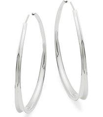 """sterling silver tapered hoop earrings/2"""""""