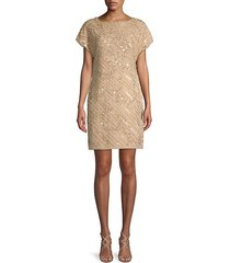 bead & sequin short-sleeve sheath dress