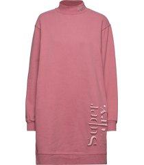 scandi high neck sweat dress kort klänning rosa superdry