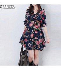 zanzea vestido de lino de otoño de moda vestido de flores vintage para mujer cuello en v manga larga casual mini vestidos lindos (azul oscuro) -azul oscuro