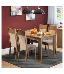 conjunto sala de jantar havana madesa mesa tampo de madeira com 4 cadeiras marrom