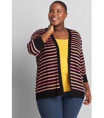 lane bryant women's open-front striped cardigan 22/24 black multi stripe