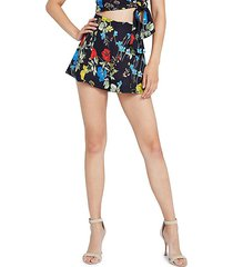 keira floral high-waist flared shorts